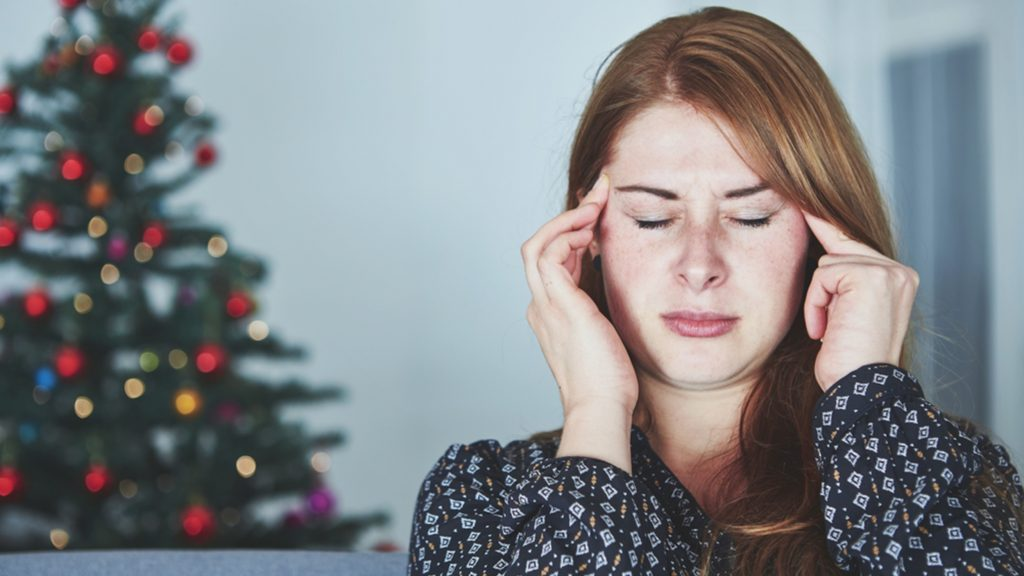 Worker stressed out because of Christmas and the holidays