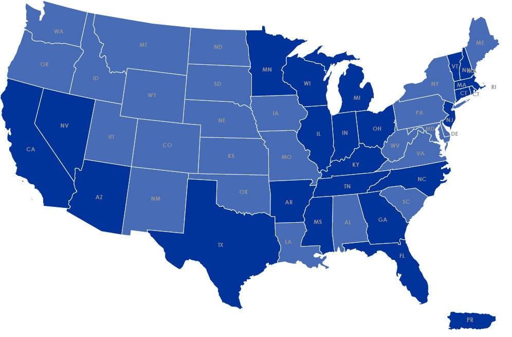 Regions We Serve Map