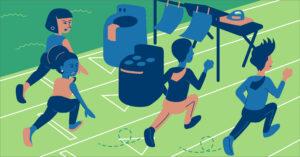 illustration women running for goal