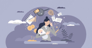 illustration busy woman holding a baby