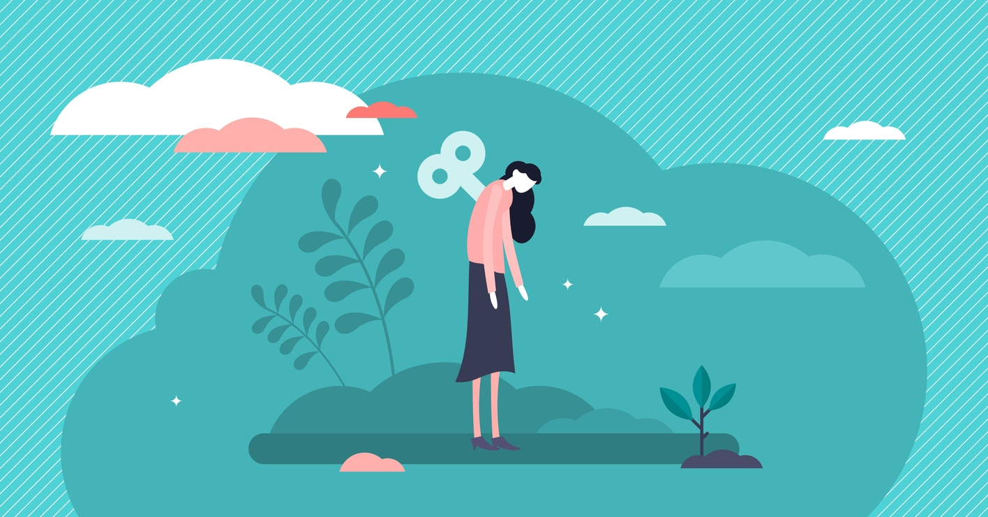 illustration woman with wind up key in back